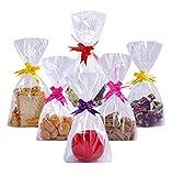 Diffrant 50PCS Bolsas Transparentes Dulces de Regalo-Treat Bags Plástico Bolsas Celofán Navidad con Colorido Cintas Arcos Lazos para Fiesta Regalos Galletas Chocolates Chuches Magdalenas Juguetes