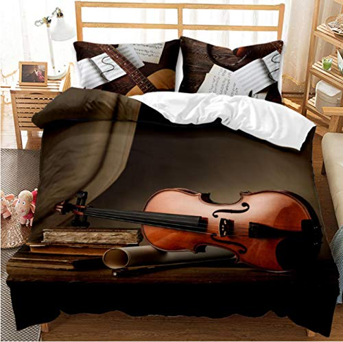 Juego De Ropa De Cama Impresión 3D Piano Violín Instrumento Musical Funda Nórdica Juego King Queen Twin Full Kids 'Gift135X200Cm