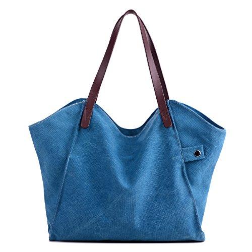 Losmile Damen Leinwand Handtasche Schultertasche Hobo Shopper Strandtasche Handgelenkstasche (Blau)