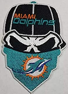 Miami Dolphins Iron On Skull with Bandana Patch 2.5 x 3.65 inches