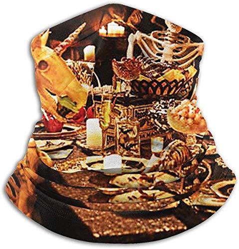 Unisex Unicorn-Skeleton Halloween Decoratie Winter Fleece Neck Warmer Gaiters Haarband Koud Weer Tube Gezicht Masker Thermische hals Sjaal Outdoor UV Bescherming Party Cover Zwart