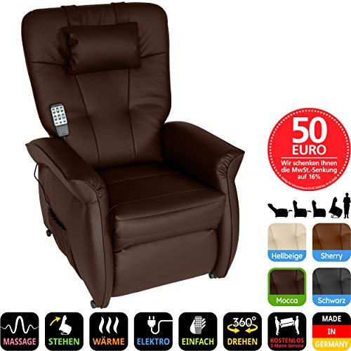 THRONER EXKLUSIV Massagesessel mit elektr. Aufstehhilfe 5-Zonen-Massage in Mocca. TV-Sessel mit Liegefunktion Wellness-Massagen Wärmetherapie und Fernbedienung. Qualität aus Deutschland
