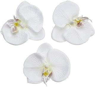 Fake Flower head Artificial Flower 8cm Silk Butterfly Orchid Head For Wedding Home Decoration DIY party festival Decor Flores Cymbidium Handmade 20pcs (white)