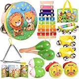Toys for 1 Year Old Girl Boy/Baby Musical Toys 6-12-9-18 Months Infant /Children's Wooden Percussion Set/ Toddler Musical Instruments Ages 1-3/Kids Preschool Educational Learning Toys Drum, Xylophone