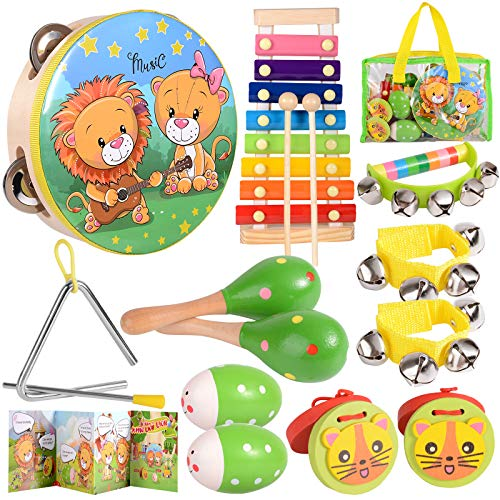 Toddler Musical Instruments Ages 1-3 /Baby Music Toys 6-12-9-18 Months Infant /Children's Wooden Percussion Set/ Gift for 1 Year Old Girl/Kids Preschool Educational Learning Toys Drum, Xylophone