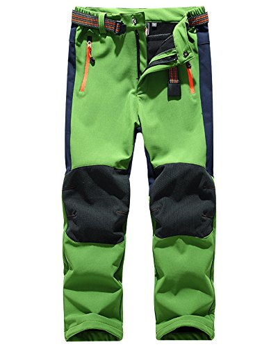 Kids' Outdoor Hiking Soft Shell Windproof Waterproof Snow Ski Pants, Warm Climbing Insulated Trousers for Boys Girls #16010-Green,6-7Years
