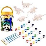 15 Stück Malen Sie Ihr Eigenes Dinosaurier Kit - 5 Dino Figuren, 5 Sätze von Farben, 5 Pinsel - DIY Basteln Spielzeug Kreative Aktivitäten für Kinder.