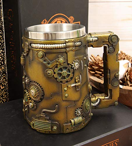 Ebros Gift Rustic Bronze Finish Nautilus Steampunk Pipes Valves And Gears Coffee Tea Mug Beer Stein Tankard Drink Cup 18oz Fantasy Industrial Victorian Sci Fi Gearwork Clockwork Novelty Mugs Cups