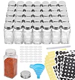 Aozita 36 Pcs Glass Spice Jars with Spice Labels - 4oz Empty Square Spice Bottles - Shaker Lids and Airtight Metal Caps - Chalk Marker and Silicone Collapsible Funnel Included