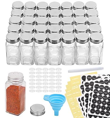 Aozita 36 Pcs Glass Spice Jars with Spice Labels - 4oz
