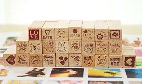 25stk. Kleine Symbole Motivstempel Stempel Gummi Holz Gummistempel