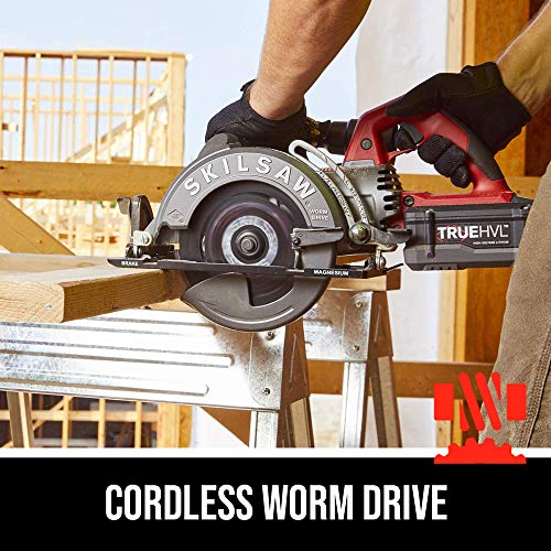 """SKILSAW SPTH77M-11 48V 7-1/4"""" TRUEHVL Cordless Worm Drive Saw Kit with 1 Battery"""