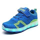 Zapatos LED Unisex Niños Ligero Transpirable Luminosas Deportivos Zapatos USB Carga 7 Color Flash Aire Libre Deporte Zapatos Niñas Niño (27 EU, Azul 01)