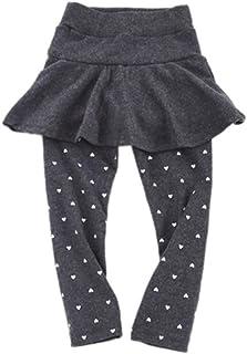 Baywell Toddler Kids Cotton Pant with Skirt Heart Printed Leggings for Girls