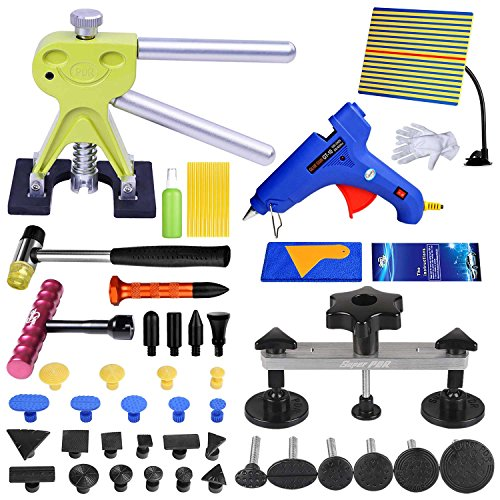 Fly5D 51pcs Car Body Dent Paintless Repair Kits, Pops a Dent Bridge Dent Puller PDR Tools with Hot Melt Glue Gun for Auto Truck Automobile Body Motorcycle Refrigerator Washing Machine…