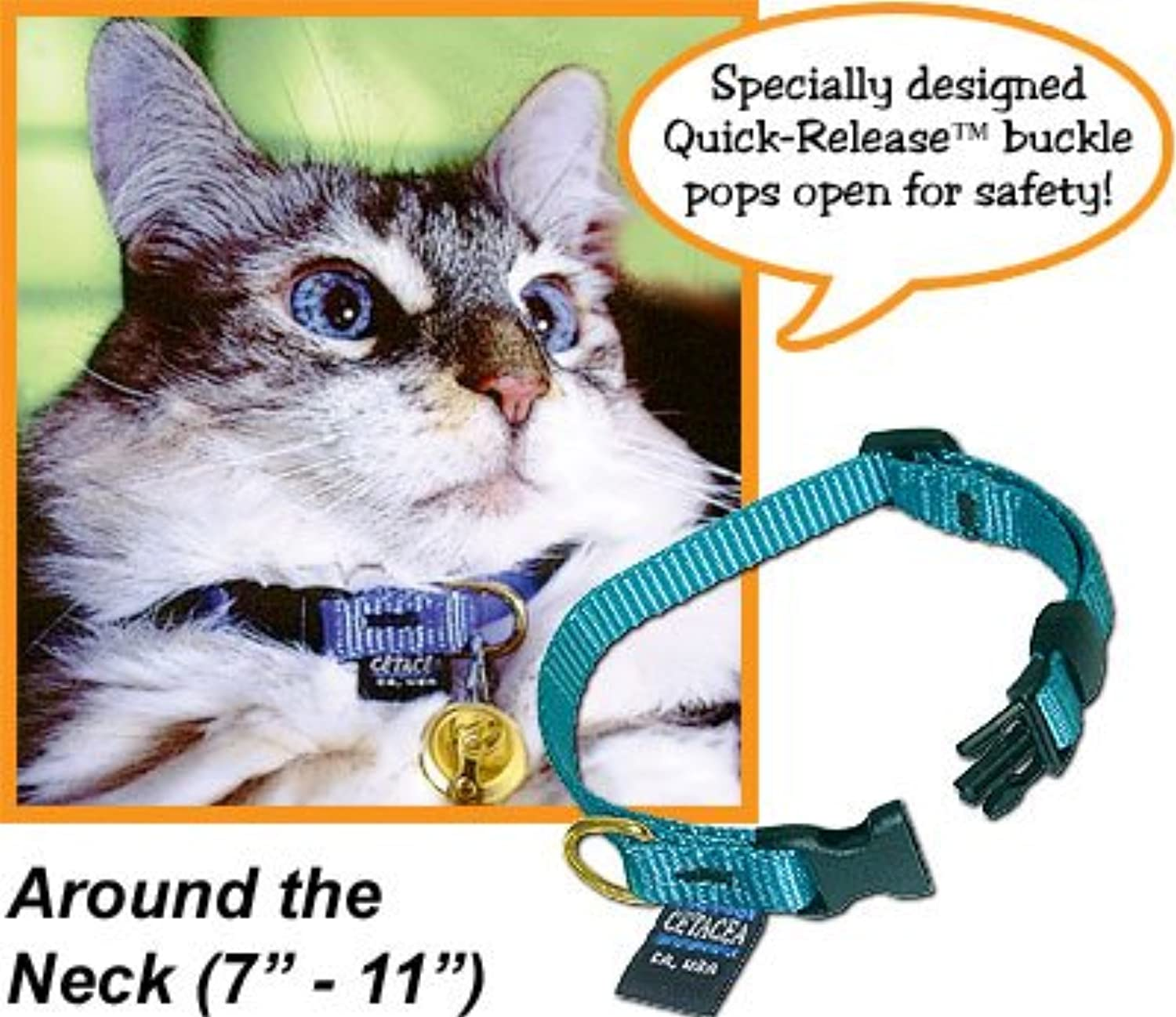 Safety QuickRelease Cat Collar without Bell  Turquoise