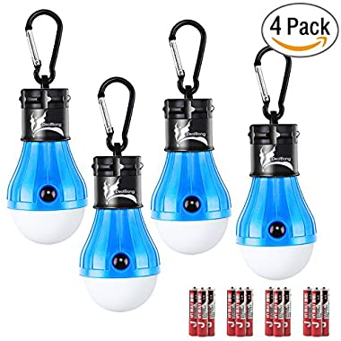 LED Tent Light Bulb with Clip Hooks, Small But Bright 150 Lumens LED Hanging Night Light for Kids, Battery Powered Gear Light Bulb for Outdoor Activities, Hurricane Emergency Illumination (Blue,4-Pcs)