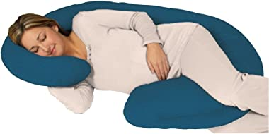 (Charcoal) - Snoogle Chic Jersey - Snoogle Total Body Pregnancy Pillow with Jersey Knit Easy on-off Zippered Cover