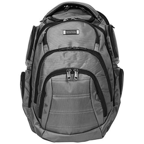 """Kenneth Cole Reaction Pack-Of-All-Trades Triple Compartment Multi-Pocket 17.0"""" Laptop & Tablet Business Travel Backpack, Charcoal, One Size"""