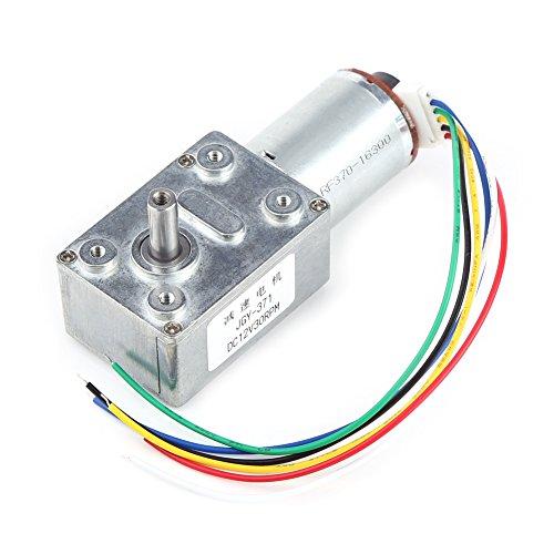 Motor de caja de engranajes de alto par DC 12V Motor de reducción de motor de tornillo sin fin de alto par con codificador Srong autoblocante para electrodomésticos(30RPM)