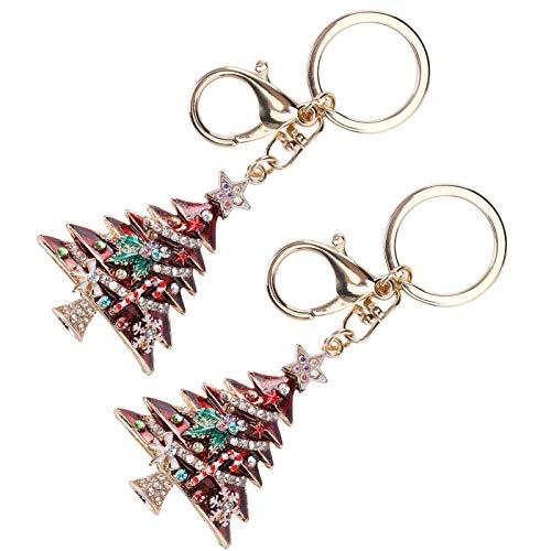 2Pcs Weihnachtsbaum Schlüsselbund Anhänger, Pearl Diamond-Nieten Schlüsselring, Fahionable Cute Kleidung Zubehör Oranment(rot)