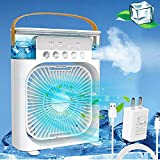 Portable Air Conditioner Fan,Personal Air Cooler Mini Quiet Evaporative with AC adapter, Humidifier Misting Fan, 1/2/3 H Timer, 3 Speeds,60°Adjustment for Office, Home, Room,Dorm,Outdoor- White