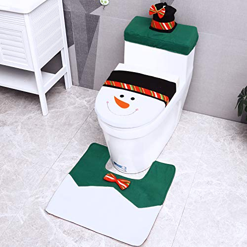 Christmas Toilet Seat Cover, Ohuhu 3PCS Snowman Toilet Seat Cover, Tank & Toilet Paper Box Cover, Snowman Toilet Carpet for Christmas Decoration Home Bathroom Decor Green