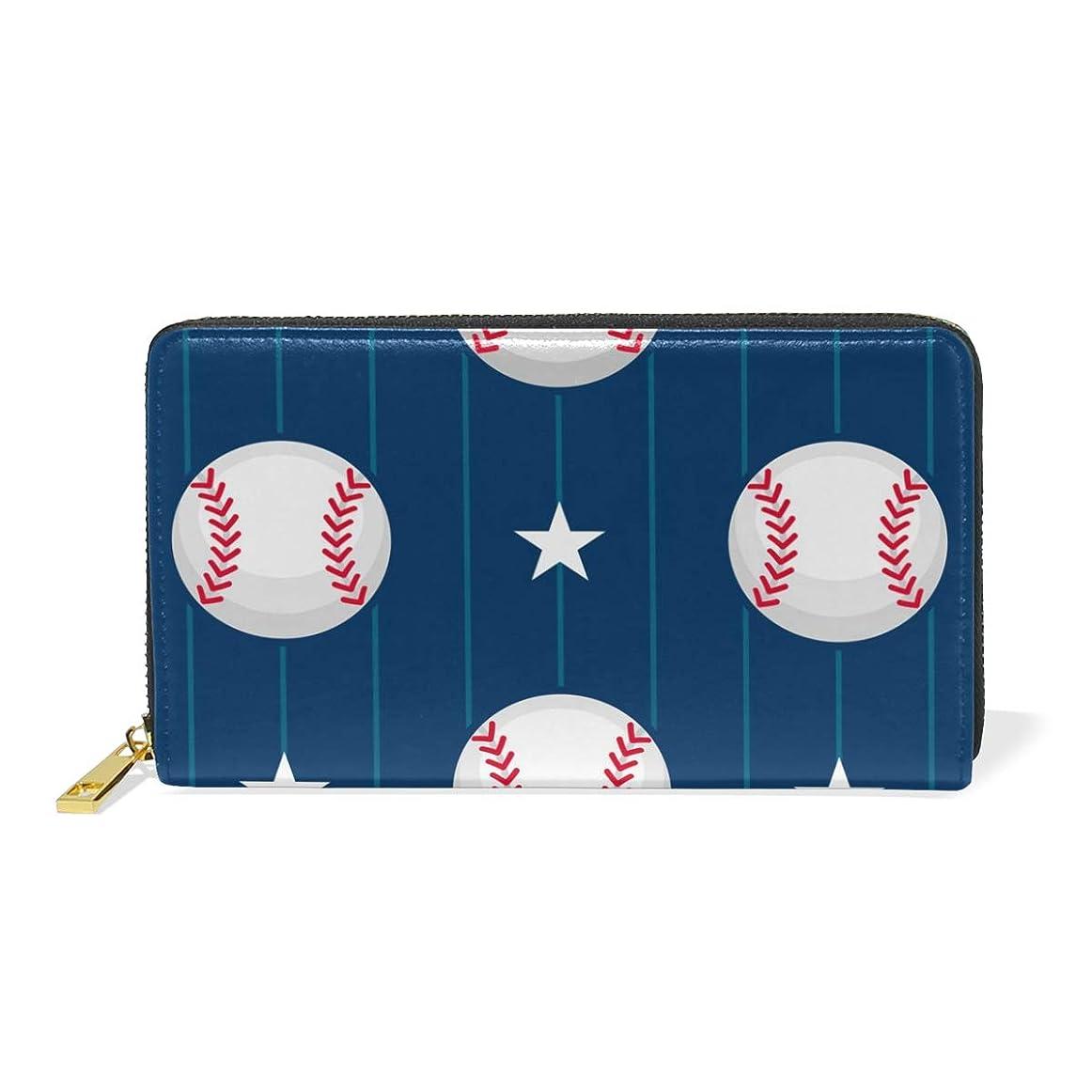 核アセンブリ毎週マキク(MAKIKU) 長財布 レディース 大容量 野球柄 星柄 本革 レザー ラウンドファスナー おしゃれ カード12枚収納 プレゼント対応