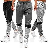 Pantalones de chándal casuales para hombre, con costuras a rayas, para entrenamiento al aire libre, deportes, correr, pantalones con bolsillos - - Medium