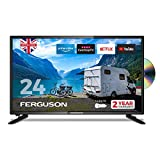 Ferguson 12 volt F2420RTSF-12v 24 inch Smart LED TV/DVD Download Apps Netflix, Black
