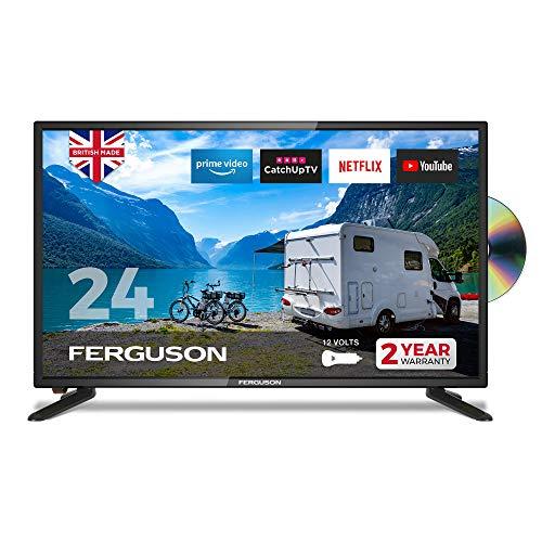 Ferguson 12 volt F2420RTSF-12v 24 inch Smart LED TV/DVD Download Apps Netflix, Black