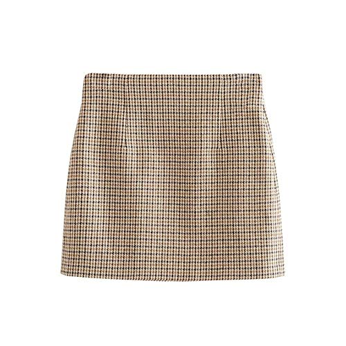 Vrouwen Mode Houndstooth Plaid Minirok 2020 hoge taille Stijlvolle Terug plooirokken Female Elegant A Line Tweed Zipper rok (Color : Plaid, Size : L)