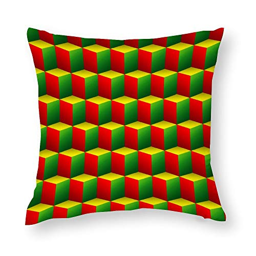 Red Green Yellow Cubes 3D Throw Pillow Covers Case Cushion Pillowcase with Hidden Zipper Closure for Sofa Home Decor 18 x 18 Inches