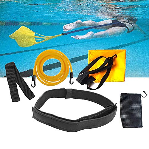 Schwimmtrainingsgürtel, Schwimmwiderstand Gürtel, Schwimmtraining Bungee Durable Bremsschirm und Elastikband Bremsschirm und Elastikband,L