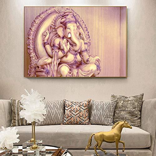 DSGTR Imágenes sin Marco de murales de Sala de Estar/Pinturas clásicas del Templo hindú Ganesha del Dios Pinturas hindúes/Decoración de Muebles de habitación de niños para habitación de bebé