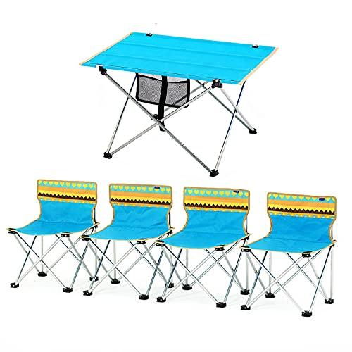 Conjunto de Mesa y Silla de Exterior Conjunto de Mesa y Silla de Camping portátil al Aire Libre, Adecuado para Fiestas de Picnic en Parques y Patios, Conjunto de Cinco Piezas (Size : Medium)