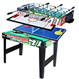 vocheer 4 in 1 multi combo game table, hockey table, table football with soccer, pool table, table tennis table for the home, play room