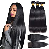 Brazilian Remy Straight Human Hair Bundles with Closure(10/12/14+8 Inch) 9A Mink 100% Unprocessed Brazilian Hair Weaves Bundles with Closure Free Part