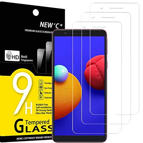 NEW'C 3 Unidades, Protector de Pantalla para Samsung Galaxy A01 Core, M01 Core, Antiarañazos, Antihuellas, Sin Burbujas, Dureza 9H, 0.33 mm Ultra Transparente, Vidrio Templado Ultra Resistente