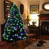 Hengu Fibra óptica Árbol de Navidad 180cm, Multicolor Artificial PVC Árbol Navideña con 250...