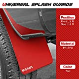 4PCS Red Universal Splash Guards Compatible with Chevy Dodge Ford Toyota Car Pickup Sedan