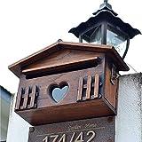 fikujap scatola in legno massello di accessori per la casa villa wall retro cassetta postale creativa, cassetta postale all'aperto resistente alle pareti