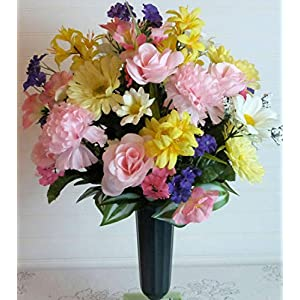 Easter Cemetery Vase, Cemetery Flowers with Carnations, Spring Cemetery Flowers with Roses