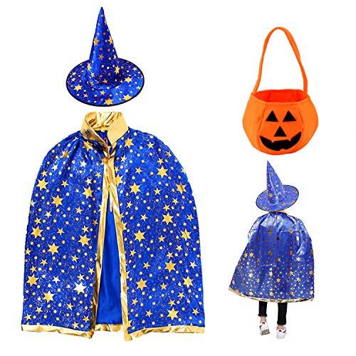 Kinder Halloween Kostüm,Kürbis Candy Bag, Wizard Cape Witch Umhang mit Hut, Zauberer Mantel mit Requisiten für Jungen Mädchen Cosplay Party (Blau)