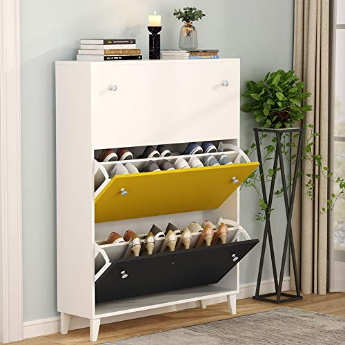 Tribesigns Modern 3 Drawer Shoe Cabinet 3Tier Shoe Rack Storage Organizer with Doors for Entryway Bedroom White