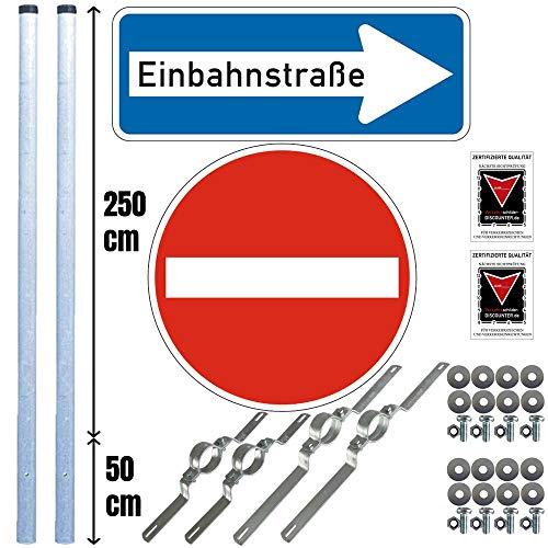 Verkehrsschilder-Komplett-Set Einfahrt: Einfahrt verboten, Einbahnstraße Rechts zum Einbetonieren