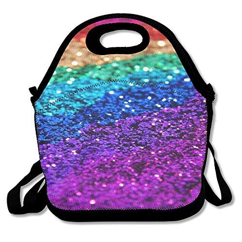 Neoprene Lunch Tote - Multi-Color-Bokeh-Glitter Waterproof Reusable Cooler Bag For Men Women Adults Kids Toddler Nurses With Adjustable Shoulder Strap - Best Travel Bag