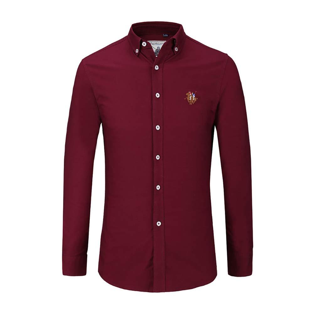 Camisas de Vestir para Hombres, Camisas Formales de Manga Larga de Negocios para Hombres Slim Fit, Camisas de Botones con Botones, Casuales, sin Mangas (Color : Vino Rojo, tamaño : 45/5XL): Amazon.es: