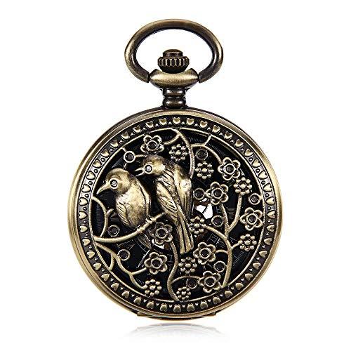 Reloj de bolsillo de los hombres y las mujeres retro clásico del reloj colgante reloj de bolsillo de bronce doble Bird Hollow reloj de bolsillo mecánico oro de la manera romana Cara hueco grabado de l