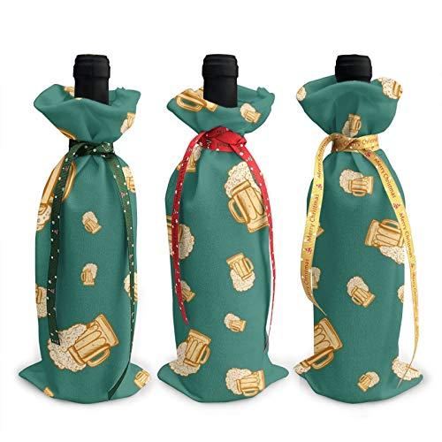 3 x Weinflaschen-Abdeckungen, 3D-Bierglas, sprudelnde Weinflaschen, Dekoration, Taschen für Weihnachten, Neujahr, Party, Geburtstag, Abendessen